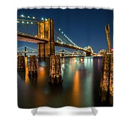 Illuminated Brooklyn Bridge By Night Shower Curtain