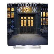 Illuminated Doorway To A Timber Framed Tudor House Or Mansion At Shower Curtain
