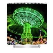 Illuminated Fair Ride With Blurred Neon Shower Curtain