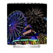 Illuminated Ferris Wheel With Neon Shower Curtain