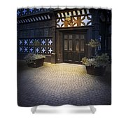 Illuminated Lamp Above The Doorway Of A Timber Framed Tudor Buil Shower Curtain