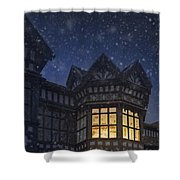 Illuminated Windows Of A Turret In A Timber Framed Tudor House Shower Curtain