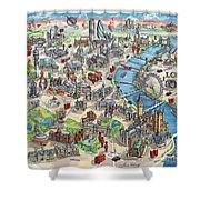 Illustrated Map Of London Shower Curtain
