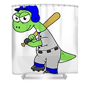 Illustration Of A Brontosaurus Baseball Shower Curtain by Stocktrek Images