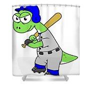 Illustration Of A Brontosaurus Baseball Shower Curtain