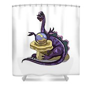 Illustration Of A Plateosaurus Fortune Shower Curtain