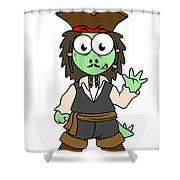 Illustration Of A Stegosaurus Pirate Shower Curtain