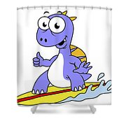 Illustration Of A Surfing Spinosaurus Shower Curtain