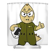 Illustration Of An Allosaurus Jet Pilot Shower Curtain