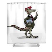 Illustration Of An Iguanodon Clerk Shower Curtain
