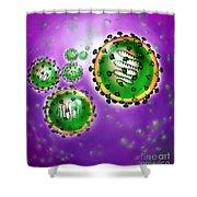Illustration Of Sars Virus Shower Curtain by Jim Dowdalls