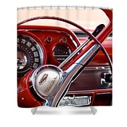 Red Belair With Dice Shower Curtain