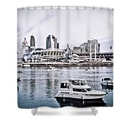 Implosion Of River Front Stadium Shower Curtain
