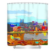 Impressionist Pittsburgh Across The River 2 Shower Curtain