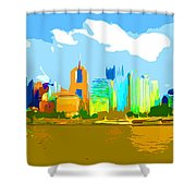 Impressionist Pittsburgh From The North Side Shower Curtain