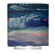 Impressionistic Abstract Wave Shower Curtain
