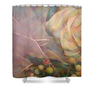 Impressionistic Pink Rose With Ribbon Shower Curtain
