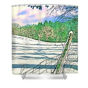 Impressions Of A Snow Covered Farm Shower Curtain