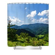 Impressions Of Mountains And Forests And Trees Shower Curtain