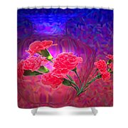 Impressions Of Pink Carnations Shower Curtain by Joyce Dickens