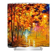 Improvisation Of Trees - Palette Knife Oil Painting On Canvas By Leonid Afremov Shower Curtain