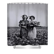 In A Field Of Flowers Vintage Photo Shower Curtain