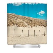 In A Line. Coastal Dunes In Holland Shower Curtain