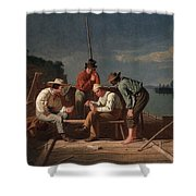 In A Quandary, Or Mississippi Raftsmen Shower Curtain