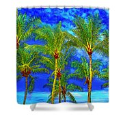 In A World Of Palms Shower Curtain