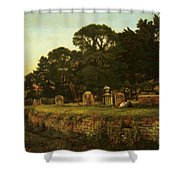 In Country Churchyard Wittington Worcester Shower Curtain