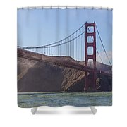In Flight Over Golden Gate Shower Curtain by Scott Campbell