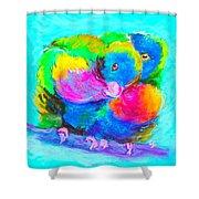 In Love Birds - Lorikeets Shower Curtain