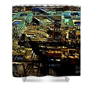 In Perspective - Fire Escapes - Old Buildings Of New York City Shower Curtain