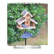 In The Birdhouse - Oil Shower Curtain