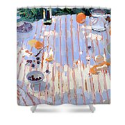 In The Garden Table With Oranges  Shower Curtain by Sarah Butterfield