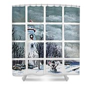 In The Holiday Spirit At Marblehead Shower Curtain