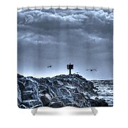 In The Jetty Moss Landing Monterey County  Shower Curtain