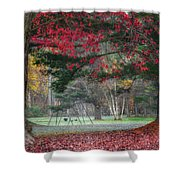 In The Park Square Shower Curtain