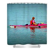 In The Pink Kayaker Shower Curtain