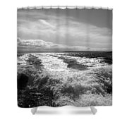 In The Wake In Black And White Shower Curtain