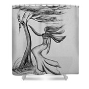 In The Wind She Dances Shower Curtain