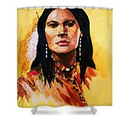 Maiden In White Feather And Beads Shower Curtain