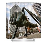 In Your Face -  Joe Louis Fist Statue - Detroit Michigan Shower Curtain by Gordon Dean II