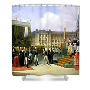 Inauguration Of A Monument In Memory Of Louis Xvi 1754-93 By Charles X 1757-1836 At The Place De La Shower Curtain