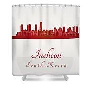 Incheon Skyline In Red Shower Curtain