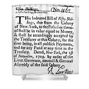 Indented Banknote, 1709 Shower Curtain