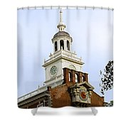 Independence Hall Clocks Shower Curtain