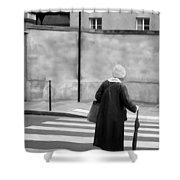 Independence - Street Crosswalk - Woman Shower Curtain