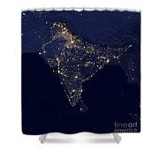 India At Night Satellite Image Shower Curtain