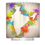 India Watercolor Map Painting Shower Curtain